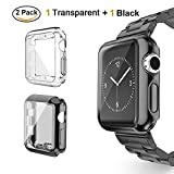 Tervoka Apple Watch Bumper, Hülle, Leichte Weiche Silikon Schutzhülle [Rundherum Schutz Schlankes Case] Schutz für Apple Watch 42mm Series 3/2, Sport, Edition, Nike+, 2-Pack, Schwarz + Transparent