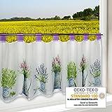 Scheibengardine FRÜHLINGSBOTEN für Küche / weiße Wohnzimmer Bistrogardine / 45x120 cm / Moderne und transparente Gardine für den Frühling