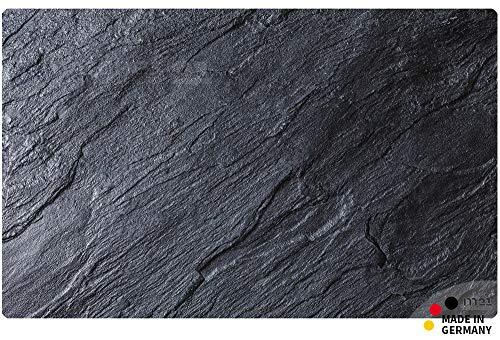 matches21 Küchenläufer Teppichläufer Teppich Läufer schwarzer Schiefer Schieferplatte Schieferoptik 50x80x0,4 cm maschinenwaschbar