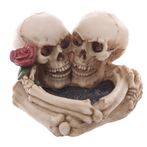 Gothic Skulls with Rose Ashtray Ornament by Funky Gadget Store