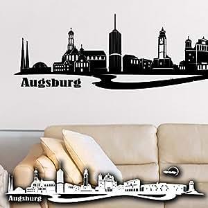 wandkings wandtattoo skyline augsburg mit sehensw rdigkeiten und wahrzeichen der stadt 135 x. Black Bedroom Furniture Sets. Home Design Ideas
