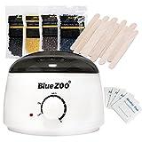 Bluezoo Wachsen Kit - 1 Elektrischer Wachswärmer 500ml - 4 Packungen Enthaarungswachs - 10 Holzspatel - 4 Alkoholtupfer