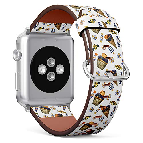 R-Rong kompatibel Watch Armband, Echtes Leder Uhrenarmband f¨¹r Apple Watch Series 4/3/2/1 Sport Edition 42/44mm - Halloween Pattern with Cupcake, Ice Cream and Candy