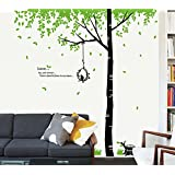 StylishWalls Calm Green Trees Nature Wall Stickers For Bedroom I Wall Stickers For Living Room, Kids Room With An Awesome Forest Theme Scenery Of Chirping Love Birds, Cage, Tree Branches And Leaves, And Cute Heart-warming Quotation I Ideal For Home, Offic