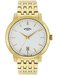 Rotary Men's Quartz Watch with White Dial Analogue Display and Gold Plated Stainless Steel Bracelet GB02462/01