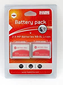 2 x battery MP EXTRA ® NB5L, NB-5L for CANON