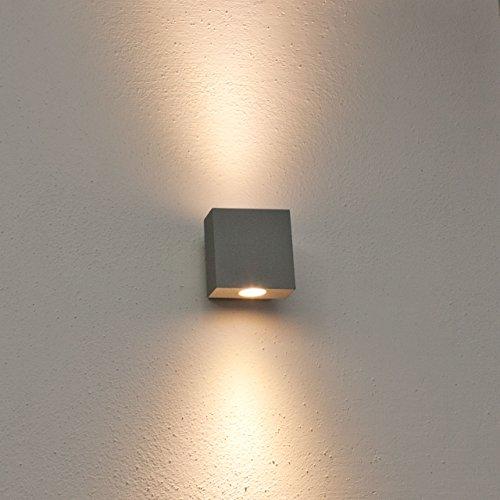 Lampada da parete, applique led bianco freddo, 2w, colore grigio ...