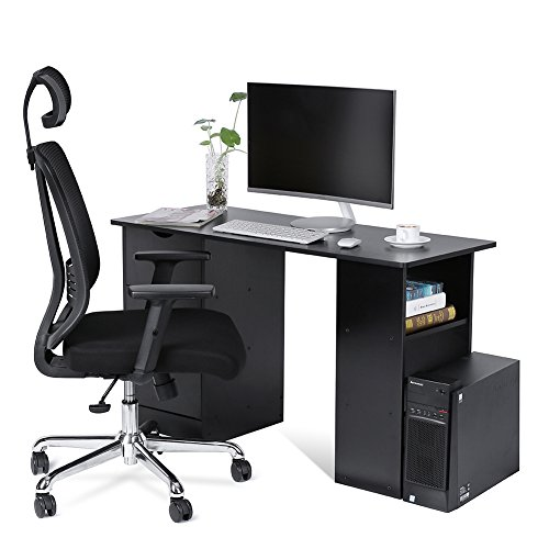 High Back Mesh Swivel Office Chair and Computer Desk with 3 Drawers and 3 Shelves, Home Office PC Table Workstation, Black