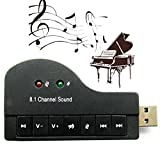 Technotech Piano Shape USB 2.0 to 3D Audio 8.1 Channel Sound Card Adapter for Windows Linux