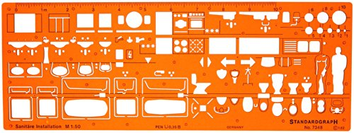 1:50 Sanitär Installation Architekt Schablone Zeichenschablone Möblierung - Innenarchitektur Technisches Zeichnen