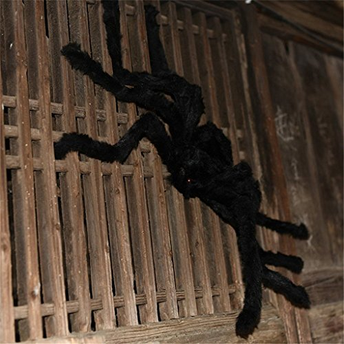 HMILYDYK 30CM Large Fake Spider Plush Puppet Prank Scary Trick Jokes Toy for Halloween Party Decorations Props Black