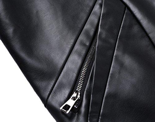 Sawadikaa Homme Blouson Veste en Cuir PU Coupe-vent Veste de Motard Moto Manteaux Marron