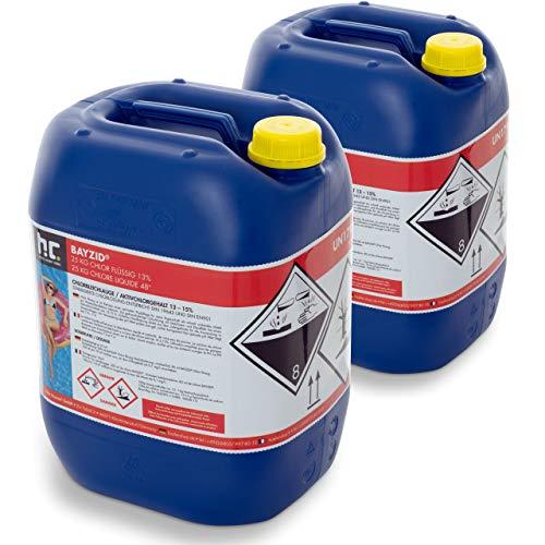 Höfer Chemie Chlor Flüssig 2 x 25 kg - Pool Flüssigchlor mit 13 bis 15{8cde85948f8da3585c9aab4c3b9e9c467b3a8718955eab0af9d9379b8a2c4d67} Aktivchlorgehalt zur Poolpflege und Wasserdesinfektion - Made in Germany