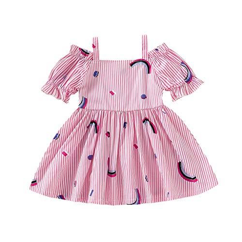 Hokoaidel Mädchen Streifen Print Kleider Sommer Schulterfreie SchulterÄrmellos Kleider Casual Geburtstag Party MiniKleid Kind Baby Mädchen Prinzessin (2 Jahre Alt Weihnachtskostüme)