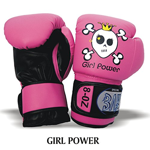 BAY® GIRL POWER (6 Unzen) pink posa Kinder Boxhandschuhe 4 6 8 10 Unzen SWEET SKULL Mini Box-Handschuhe Kids Junior Jugendliche schwarz UZ OZ Kinderboxhandschuhe klein Totenkopf Krone (6 Unzen)