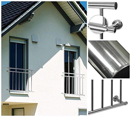 fenstergelaender Home Deluxe Balkongeländer | Verschiedene Größen | Rostfreies V2A Edelstahl | Inklusive Zubehör | 184 x 90 cm