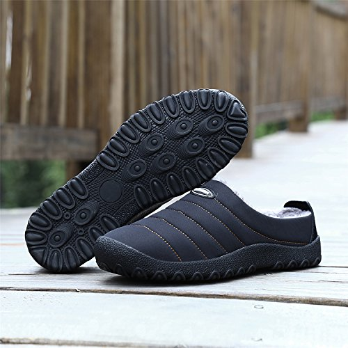 UMmaid Herren Damen Plüsch Winter Hausschuhe Warm Gefütterte Pantoffeln Outdoor Freizeit Schuhe Home Slippers Schwarz