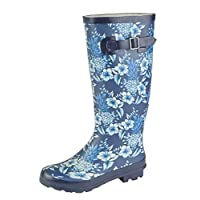 Ladies Navy/Blue Multi Rubber Wellington