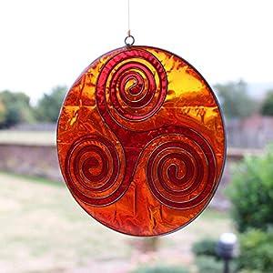 Fensterdeko Weg des Lebens orange | Fenster Deko zum Aufhängen | Sonnenfänger | Fensterschmuck Geschenkidee