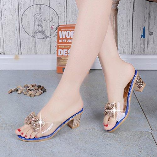 Diamante Tacchi Pantofole Per Donne Ruvida Con F Le Lgk Sandali I Estivi Blu qvgwa81fx