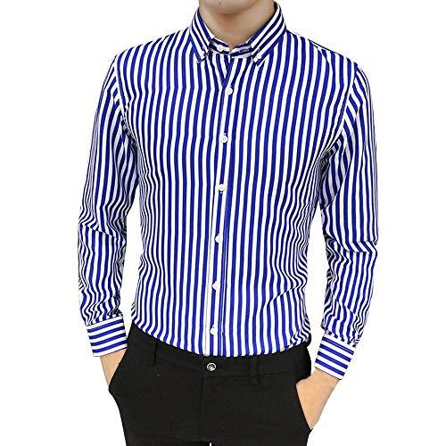 NEEKY Herren Revers Hemd Herren Anzug Fit Langarm Knopf Gestreift Unten Hemden Lässige Streifen Langarmshirts(L,Blau) - Fit-blauer Streifen