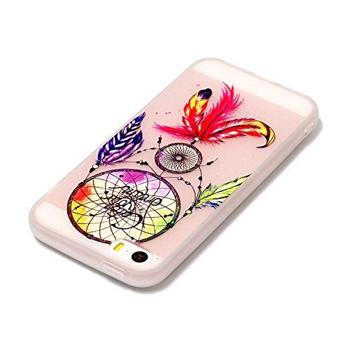 Coque iPhone 5S, iPhone SE Coque Silicone Transparent, SainCat Ultra Slim Transparent TPU Silicone Case Cover pour iPhone 5/5S/SE, Coque Anti-Scratch Crystal Clear Soft Gel Cover Coque Fleur Transpare Campanule