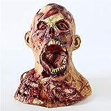 TTXLY Máscara de Halloween Máscara de látex Disfraces para Hombre Cabeza de moldura Prop Cabeza Completa Horror Máscaras Zombie Sombrero Disfraces Fiesta Accesorios de Suministros,C