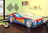 Best For Kids Autobett Kinderbett Bett Auto Car Junior in vier Farben mit Lattenrost und Matratze 70x140 cm Top Angebot! (Rot-Blau)