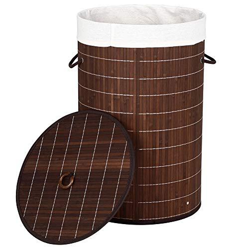 Bakaji cesto biancheria sporca portabiancheria casa in legno di bambù e tessuto contenitore pieghevole salvaspazio con coperchio e manici capacità 70lt dimensione 38 x 60 cm (marrone)