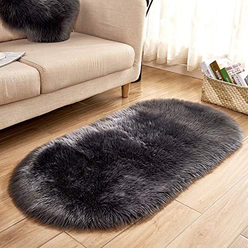 YIWAN Imitation Wolle ovale Bodenmatte Türmatte Bettkante Matte Badezimmermatte dunkelgrau 40 * 60cm