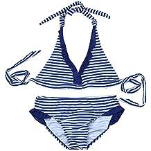 iEFiEL Bañador de Dos Piezas para Niña Chica (8-16 Años) Traje de Baño Rayado Cuello Halter Bikini Tankini