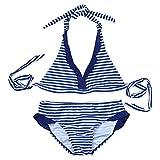 iEFiEL Bañador de Dos Piezas para Niña Chica (8-16 Años) Traje de Baño Rayado Cuello Halter Bikini Tankini Azul 16 Años