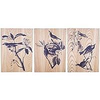 Bird vita decorativo natura Pannello in legno da parete Home Art Trio