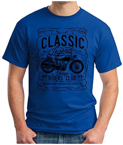 OM3 - CLASSIC-LEGEND-BLACK - T-Shirt Vintage RIDERS CLUB INTERNATIONAL MOTORCYCLE SUPPLY CO GARAGE CULT, S - 5XL Royalblau
