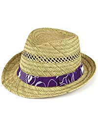Straw trilby hat with Hawaiian hibiscus purple band panama summer