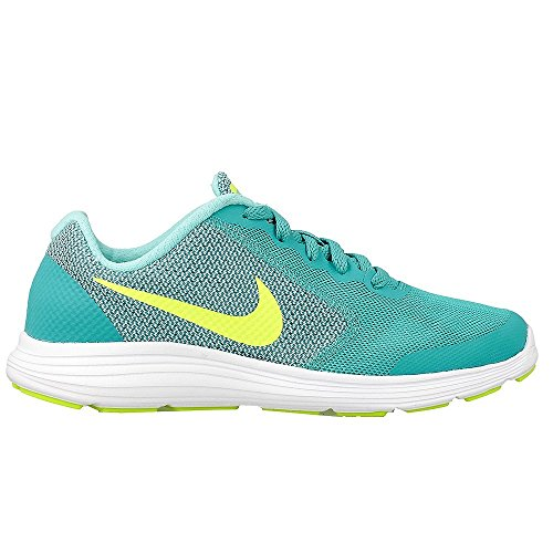 Nike Mädchen Revolution 3 (GS) Laufschuhe, Verde (Clear Jade / Volt-Hyper Turq-White), 37.5 EU (Schuhe Für Nina Mädchen)