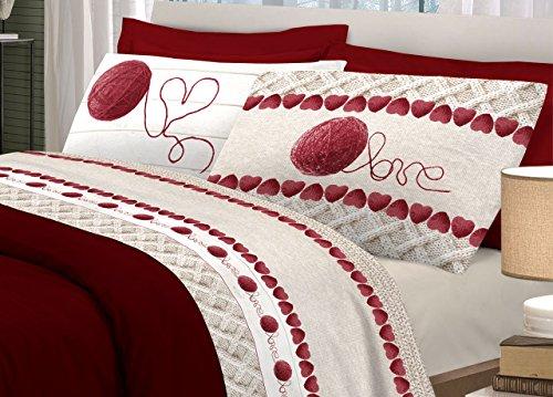Claire Maison passenden Doppelbett Rot 250x 300cm + 2/52x 82cm