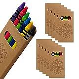 WPRO Kids Wachsmalstifte 10-er Set | Gastgeschenk Kindergeburtstag Mitgebsel | Crayons in 6 Farben | Stifte für Jungen & Mädchen braun