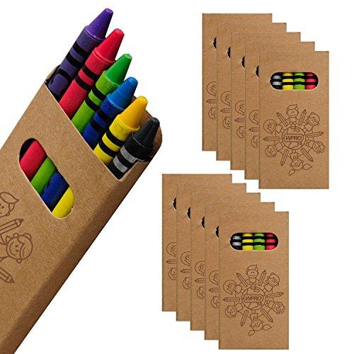 WPRO Kids Wachsmalstifte 10-er Set | Gastgeschenk Kindergeburtstag Mitgebsel | Crayons in 6 Farben | Stifte für Jungen & Mädchen braun (Kleinkind Mädchen Leinwand)