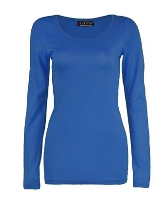 51dad3908e4366 4 weniger Fashion Damen Langarm T-Shirt Basic