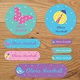 Shabby Chic Stick auf Namen Etiketten Herzen, Blumen oder Vögel 96 Labels