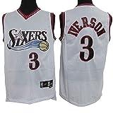 XH-Sport Abbigliamento da Basket per Uomo, Maglia Classica NBA 76ers 3# Allen Iverson, Divisa da Fan Unisex Vintage Traspirante in Tessuto Fresco Traspirante,C,M(175CM/65~75Kg)