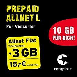 congstar Prepaid Allnet L Paket [SIM, Micro-SIM und Nano-SIM] - Das Prepaid-Paket für Vielsurfer in Bester D-Netz-Qualität