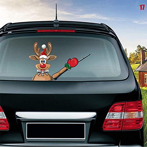 Metyere Car Rear Wiper Decal Sticker Windshield Christmas Santa Claus Pattern Sticker Car Window Wiper Decals Rear Windshield Sticker Car-Styling Decoration Sticker Waving Decor Ornament -