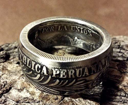 Coinring, Münzring, Ring aus sehr alter und wertvoller Münze, 1 Sol 1884 Peru, 900er Silber - Double Sided coin ring - Größe 71 (22.6), handgeschmiedetes Unikat (Peru Münzen)