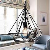 #7: Edison Filament Hanging DIAMOND caged, E27 Holder, Decorative, Urban Retro style, Black color metal.