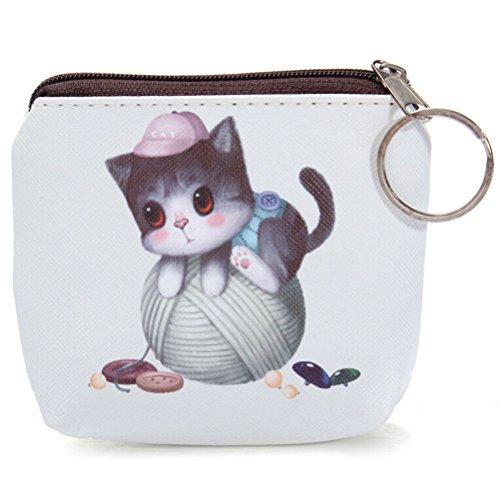 sevenmye 1Stück Mini Cute Cat Reißverschluss Pocket Coin Geldbörse Tasche Schlüssel Tasche style 2 Stil Nr. 4