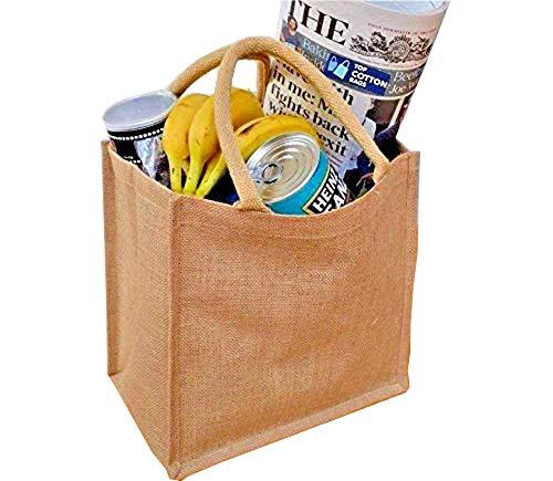 Classic Jute Shopper * 10Stück * Jute Sackleinen Einkaufstasche mit natürlichen Farbe Griffe mit Baumwolle. laminiert Innen. 100% wasserdicht. Größe: 30cm x 30cm x 20cm