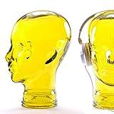 DESIGN DELIGHTS KOPFHÖRERSTÄNDER Mick | Recycling Glas, gelb, 29 cm | Deko Kopf