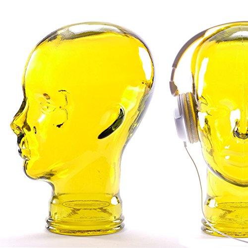 DESIGN DELIGHTS KOPFHÖRERSTÄNDER Mick   Recycling Glas, gelb, 29 cm   Deko Kopf